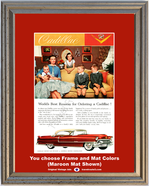 1955 Cadillac Coupe de Ville Vintage Ad 55 Caddy 2 Door Hardtop Family Children Luxury 55 *You Choose Frame-Mat Colors-Free USA S&H*