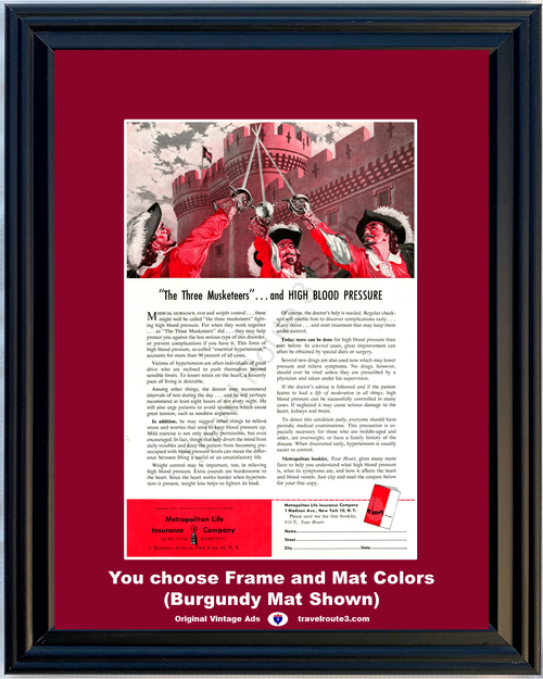1955 Three Musketeers High Blood Pressure Vintage Ad Metropolitan Life Insurance Castle Health and Wellness *You Choose Frame-Mat Colors-Free USA S&H*