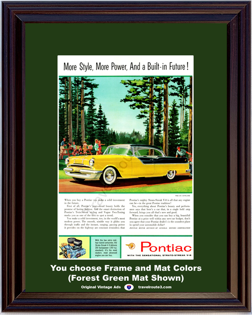 1955 Pontiac Catalina Vintage Ad 55 2 Door Hardtop Yellow and Black 870 Forest Picnic 55 *You Choose Frame-Mat Colors-Free USA S&H*