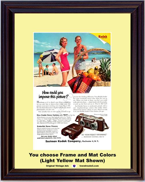 1955 Eastman Kodak Stereo Camera Vintage Ad Kodaslide Stereo Viewer Beach Ocean 55 *You Choose Frame-Mat Colors-Free USA S&H*