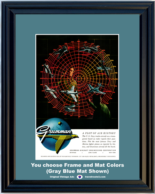 1955 Grumman Aircraft Engineering Vintage Ad U.S. Navy Fighter Planes Airplanes Air 55 *You Choose Frame-Mat Colors-Free USA S&H*