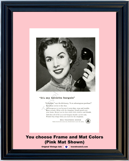 1955 Bell Telephone My Favorite Bargain Vintage Ad Antique Phone Woman 55 *You Choose Frame-Mat Colors-Free USA S&H*