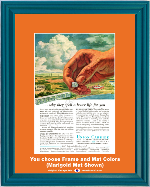 1955 Union Carbide and Carbon Vintage Ad Synthetic Materials Research Development 55 *You Choose Frame-Mat Colors-Free USA S&H*