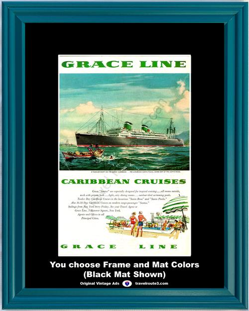 1955 Grace Line Caribbean Cruises Vintage Ad Santa Paula Ship Tropical Vacation Travel 55 *You Choose Frame-Mat Colors-Free USA S&H*