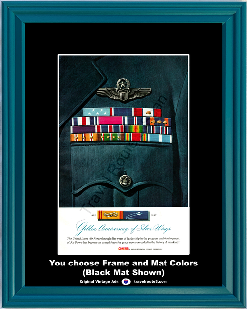 1957 Convair United States Air Force Vintage Ad USAF Golden Anniversary of Silver Wings 57 *You Choose Frame-Mat Colors-Free USA S&H*