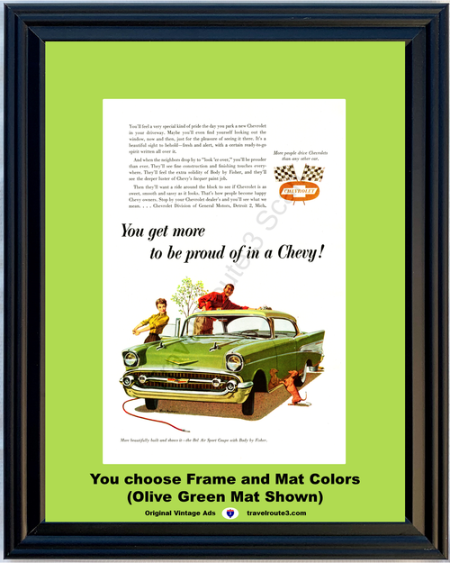 1957 Chevrolet Bel Air Sport Coupe Vintage Ad 57 Chevy Tri-Five 2 Door Hardtop 57 *You Choose Frame-Mat Colors-Free USA S&H*