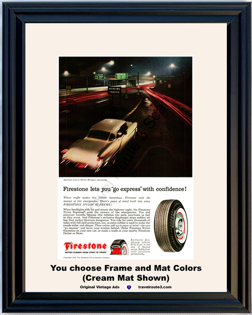 1957 Firestone Tire Oldsmobile Olds Vintage Ad Detroit Michigan Highway Expressway 57 *You Choose Frame-Mat Colors-Free USA S&H*