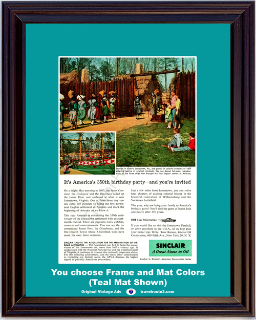 1957 Sinclair Oil Jamestown Virginia Vintage Ad Stockade Vacation Travel 57 *You Choose Frame-Mat Colors-Free USA S&H*