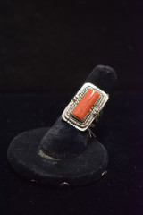 Silver & Coral Ring
