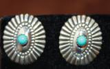 Silver & Turquoise Sunburst Post Earrings