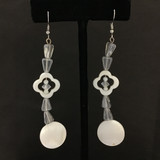 Long Mother-of-Pearl Coin Earrings