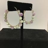 Amethyst & Pearl Hoop Earrings