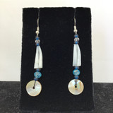 Blue Tones Dentalium & Abalone Earrings