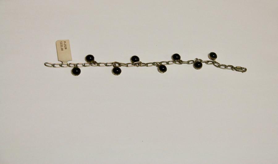 Silver Link With Onyx Stone Charms Bracelet