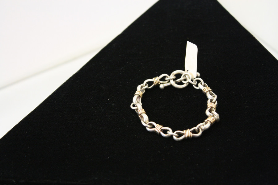 Silver and Gold Rope Bracelet, Link Style