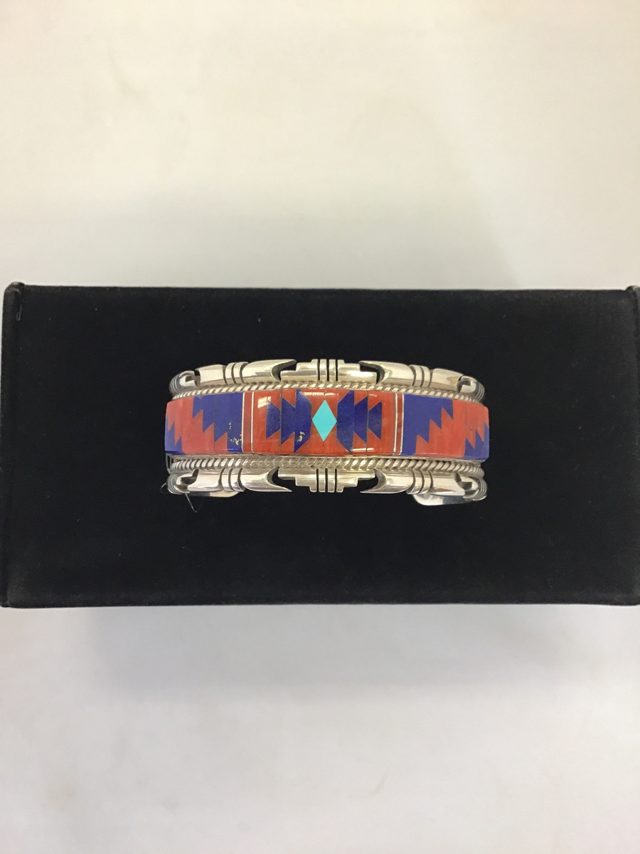 Silver Inlaid Bracelet with Turquoise, Coral, and Lapis