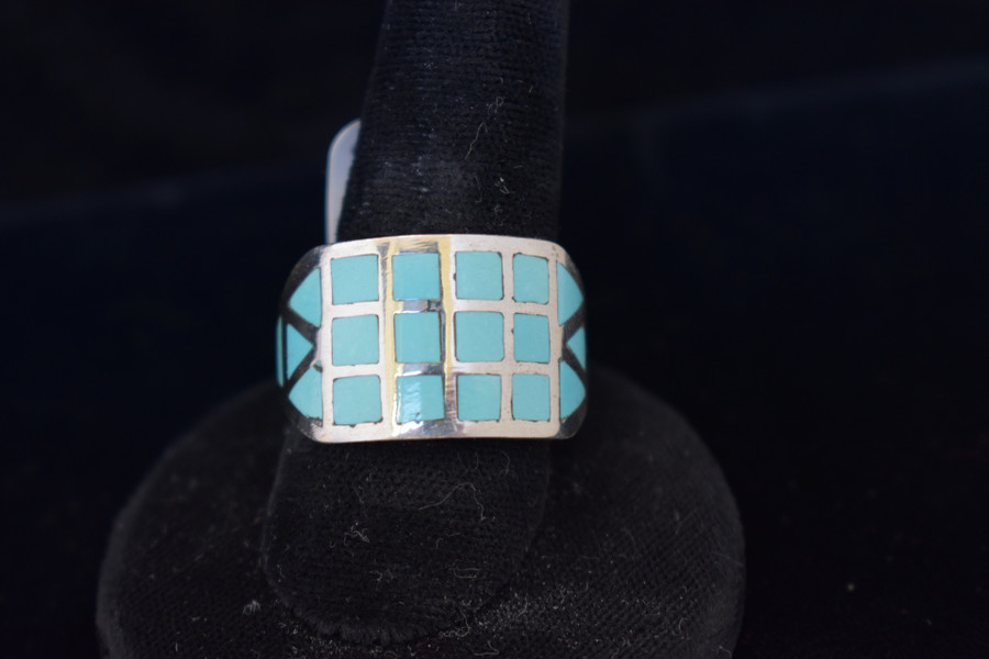 Mens Turquoise Inlay Ring