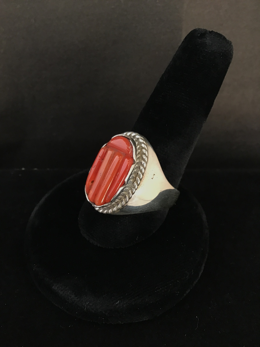 Coral & Silver Ring