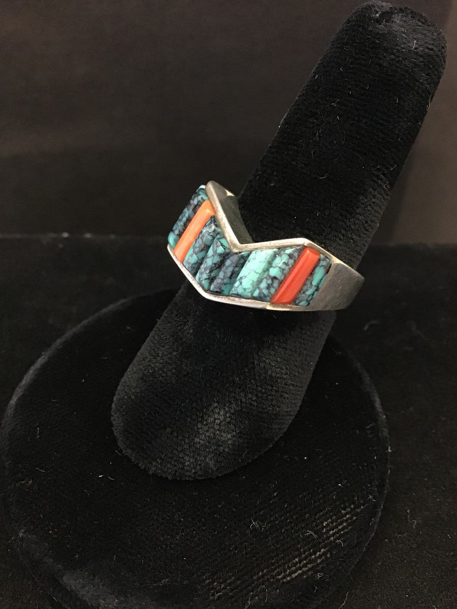Silver, Inlay, Turquoise/Coral Ring