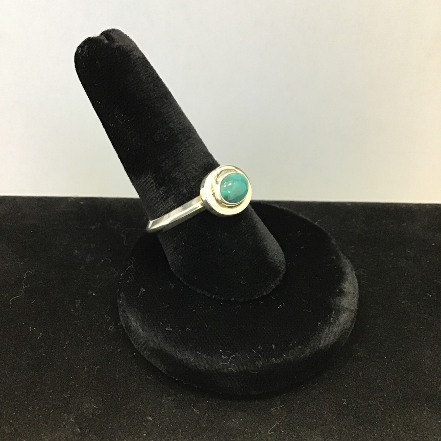 Turquoise & Coral Needlepoint Style Ring