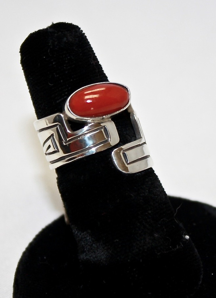 Sterling Silver Ring With Coral Stone