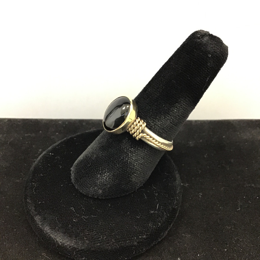 Silver With Gold And Black Onyx Stone Ring