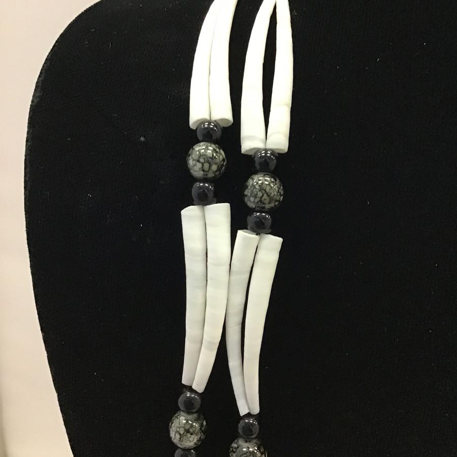Large Double Dentalium, Black & Gray Necklace