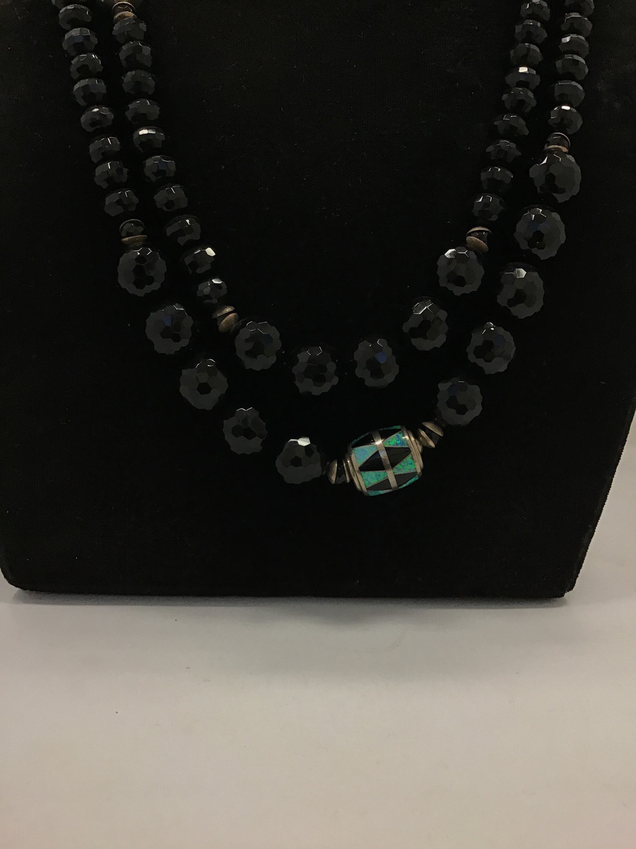 Jet/Opal Bead Necklace