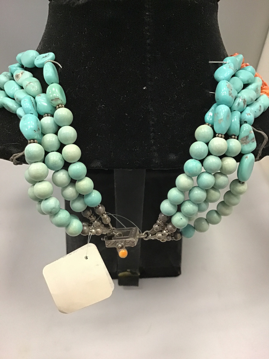 Morenci Turquoise and Spiny Oyster Necklace and Earring Set