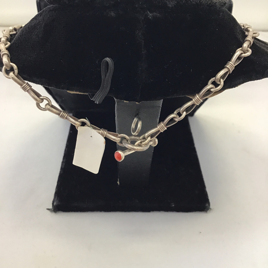 Chain Link With Red Stone Necklace