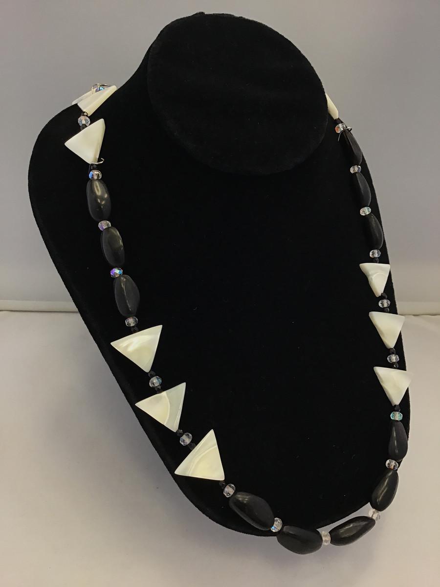 MOP Triangle & Black Pine Nut Necklace