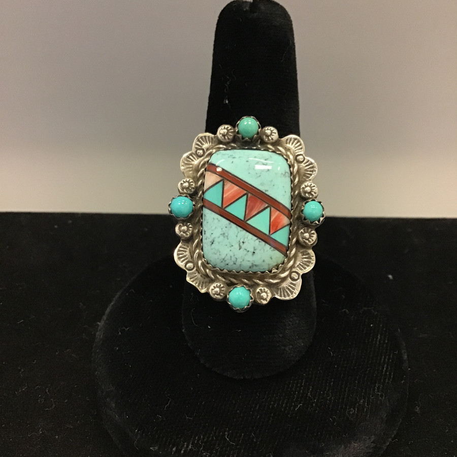 Large Turquoise Stone with Stamped Silver Edge Ring