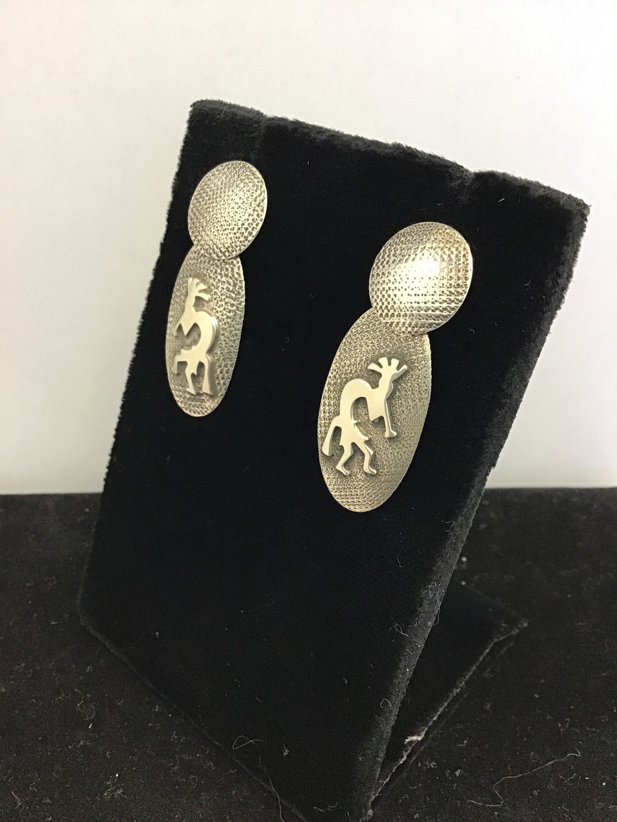 Silver Hopi Kokopelli Large Post Earring