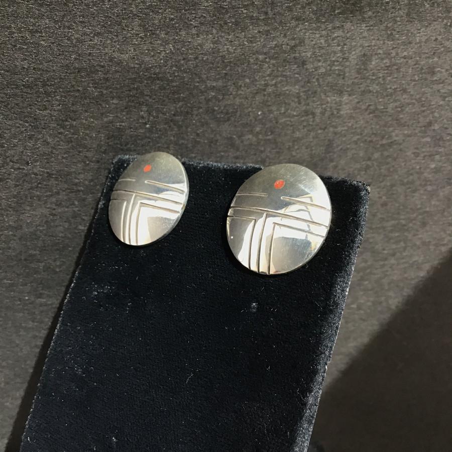 Silver Hopi Button Sunface Earring
