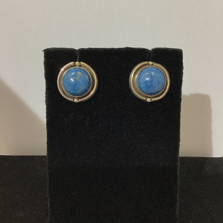 Round Denim Lapis & Silver Post Earrings