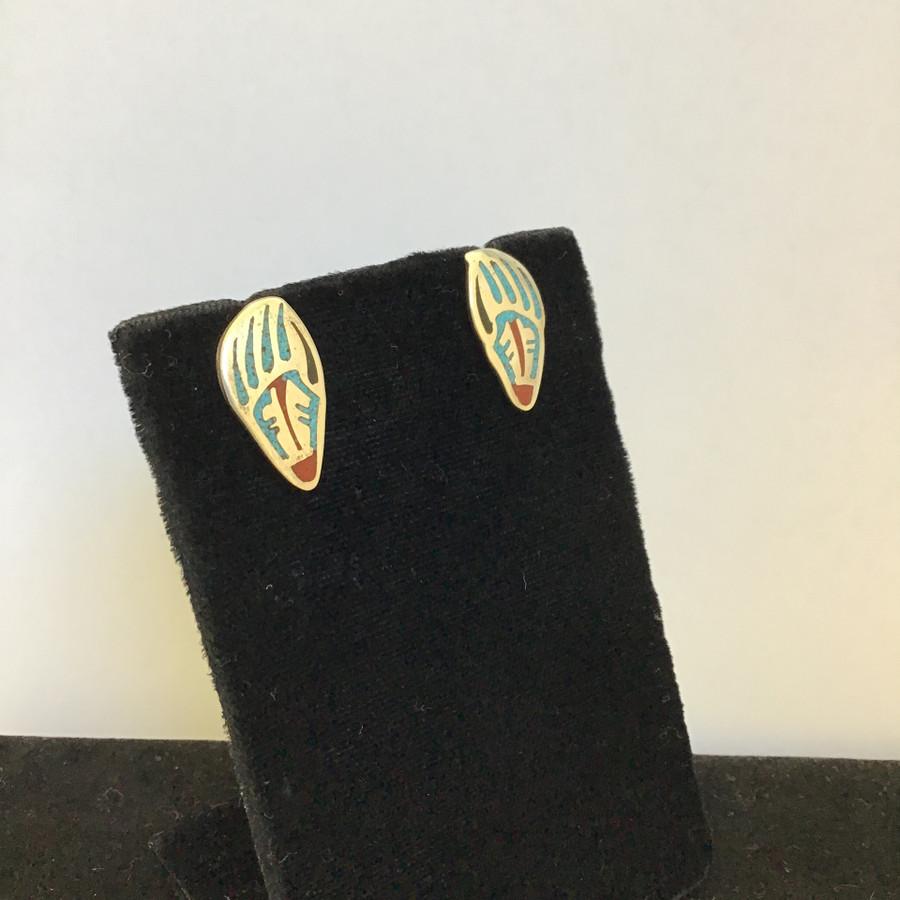 Inlaid Long Bear Paw Post Earrings