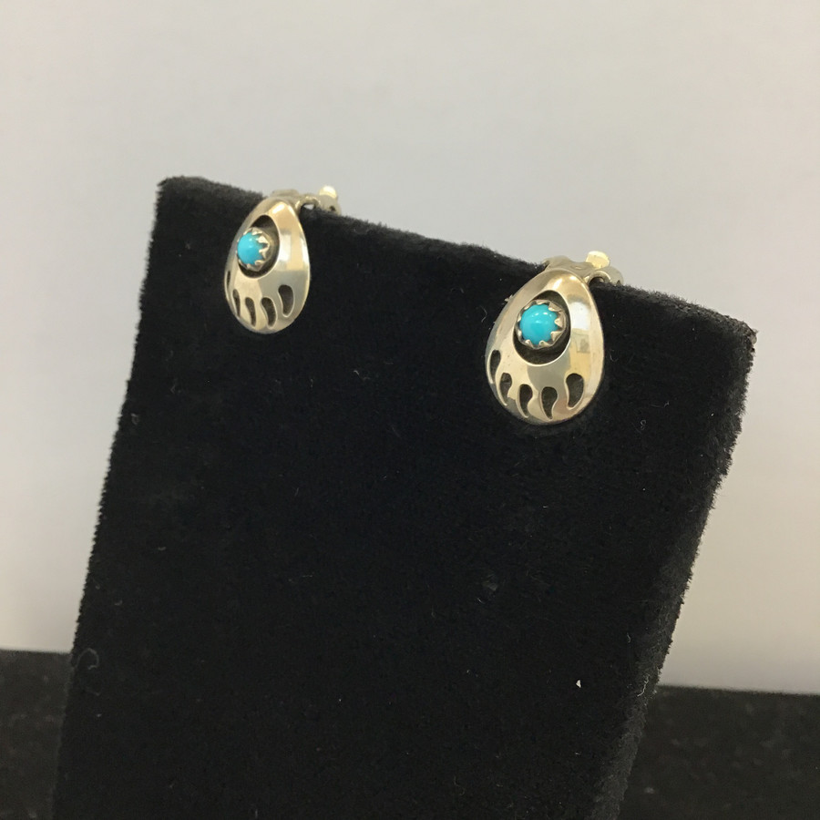 Navajo Turquoise Bear Paw Clip-On Earrings