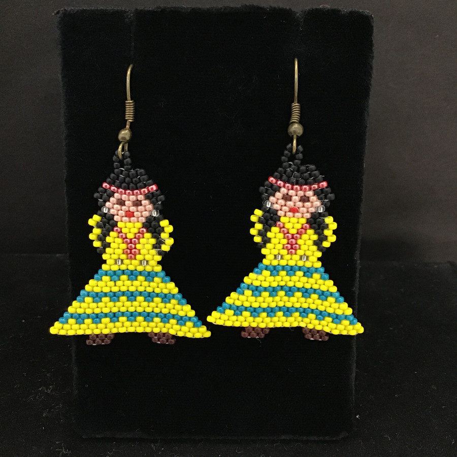 Tiny Beaded Plains Style Dolls Earrings