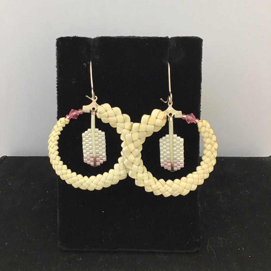 Bear Grass with Pink Feathers Earrings