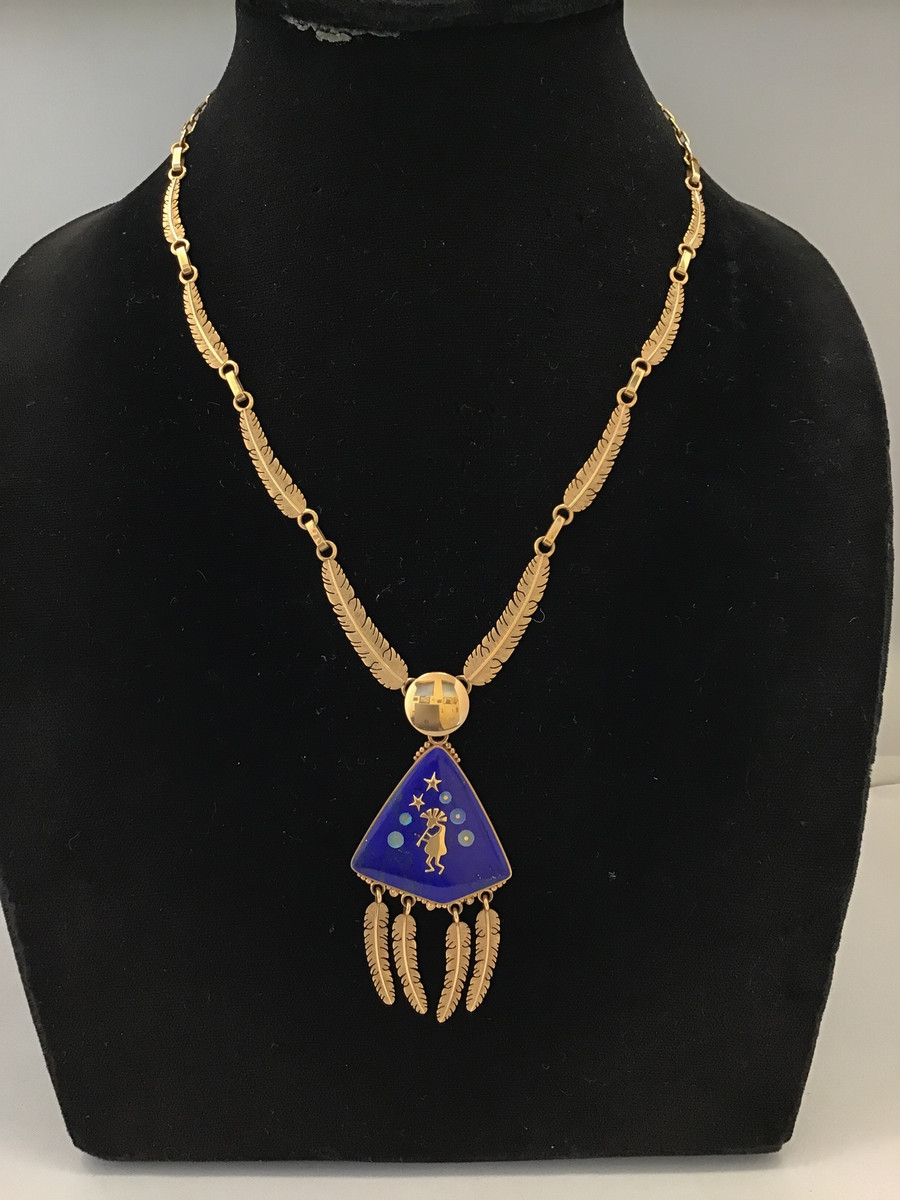 Gold & Lapis Necklace with Kokopelli Design