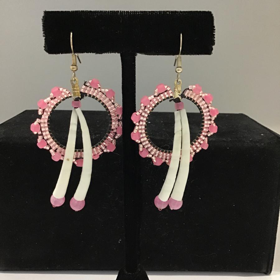 Beaded Hoop  & Dentalium Earrings