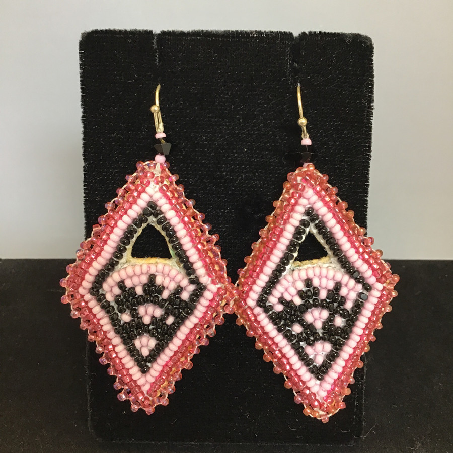 Beaded Diamond Shape Earrings