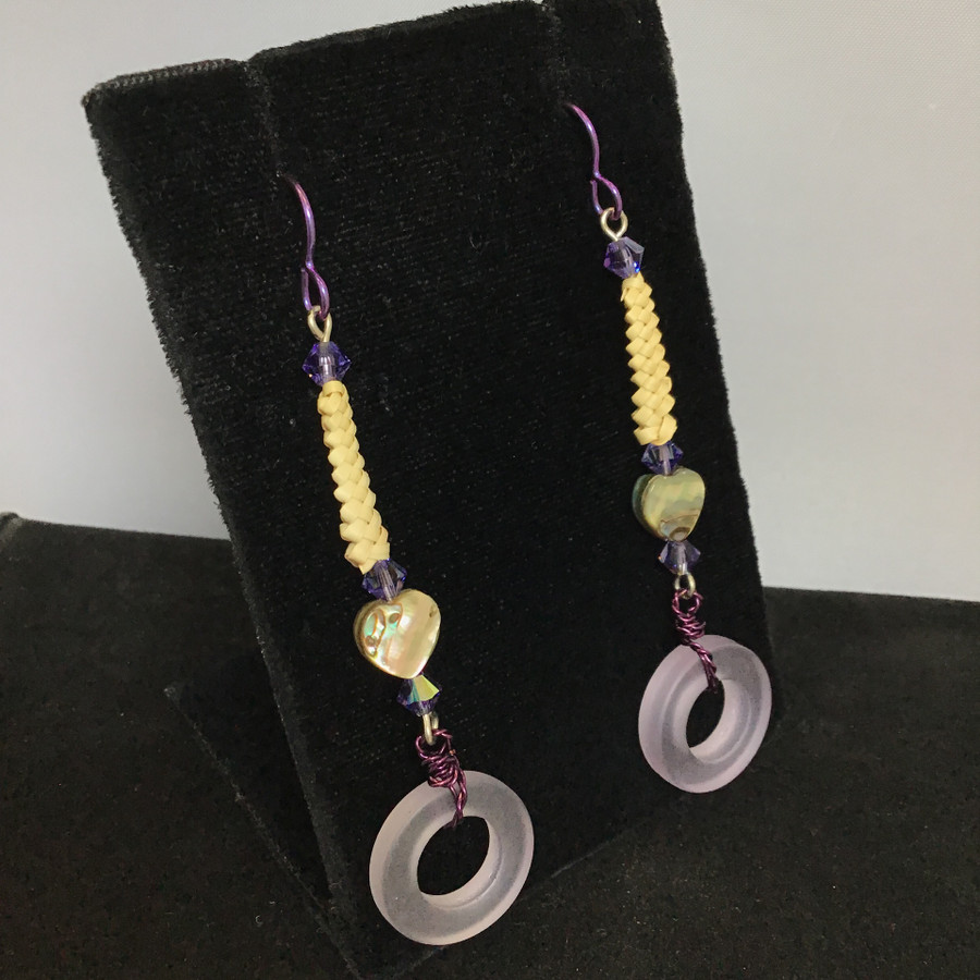 Purple Circle Wired Beargrass Heart Abalone Earrings