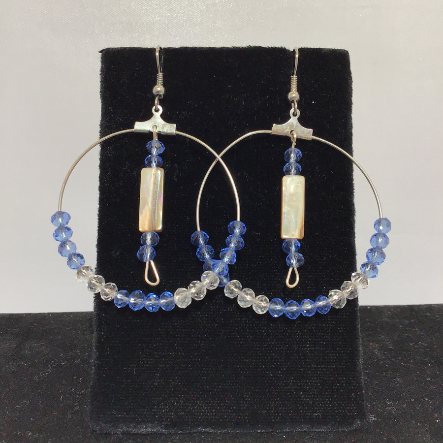 Large Wire Hoop With Rectangle Abalone And Blue Beads
