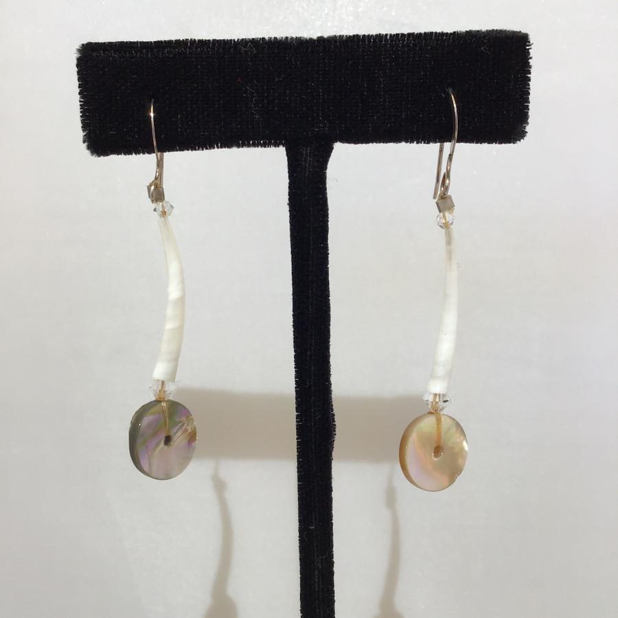 Small Dentalium & Pink Crystal Earrings
