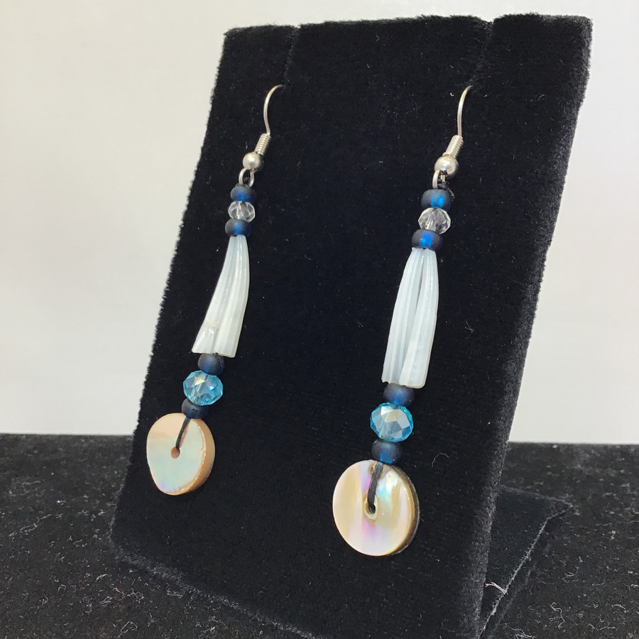 Blue Tones Dentalium & Abalone Earrings