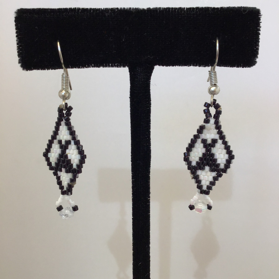 Small Black and White Beaded Earrings