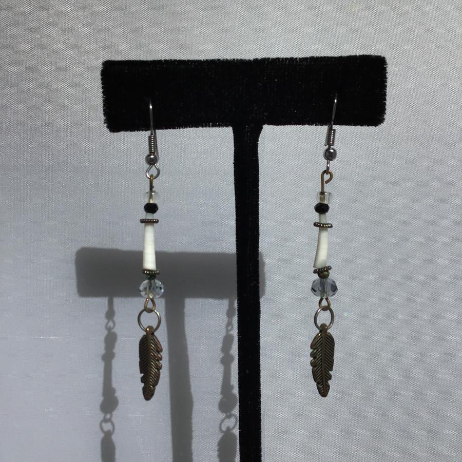 Two Single Feather Dangle Earrings