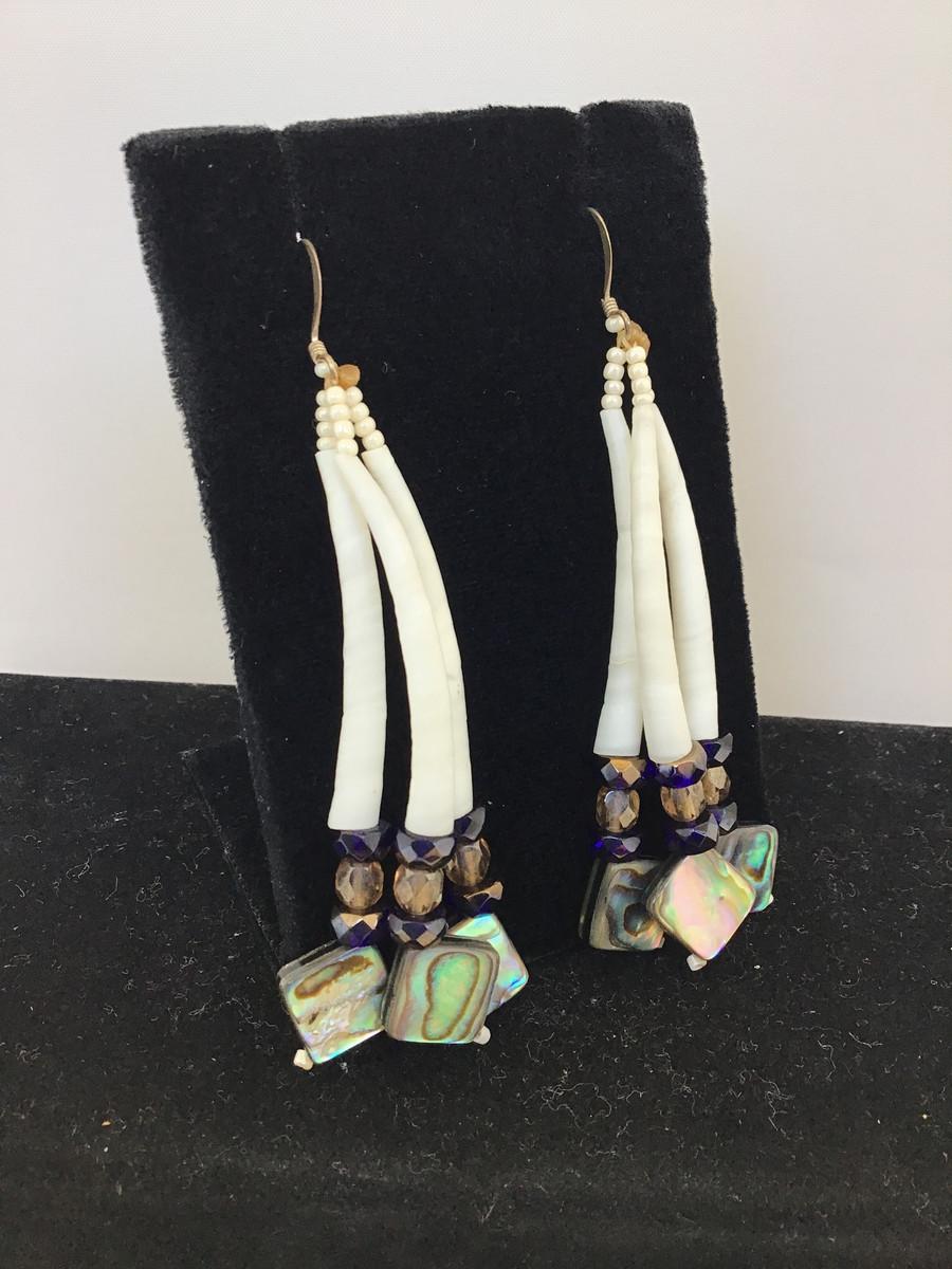 3 Strand Abalone & Dentalium Earrings