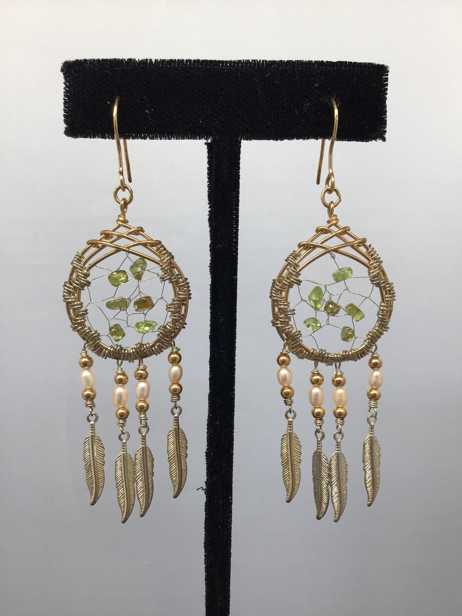 Peridot Dream Catcher Earrings
